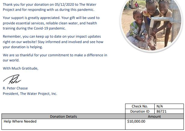 10 000 usd donation to the water project